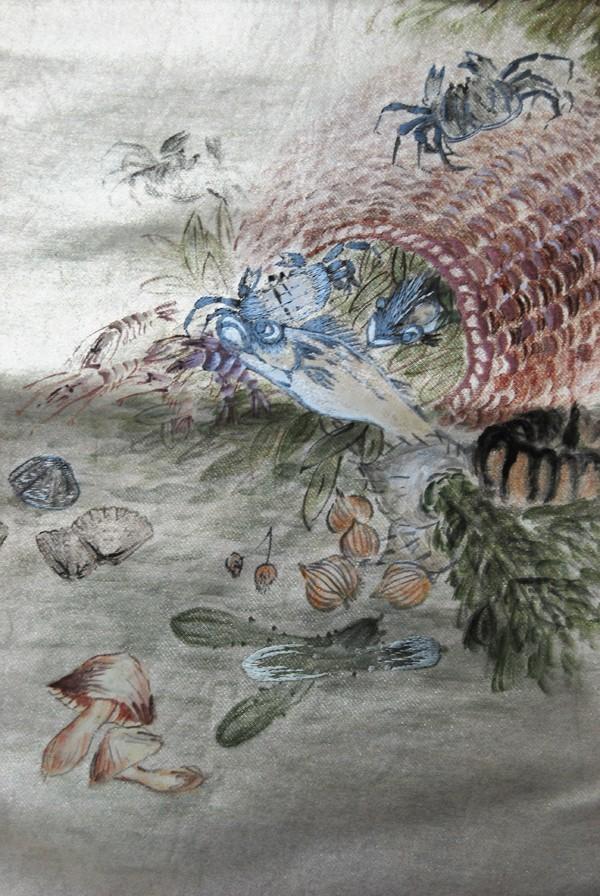 きものさらさ レアモチーフ!蟹・魚・魚籠・きのこ 野菜 袋帯 刺繍入 アンティーク リサイクル 正絹_画像1