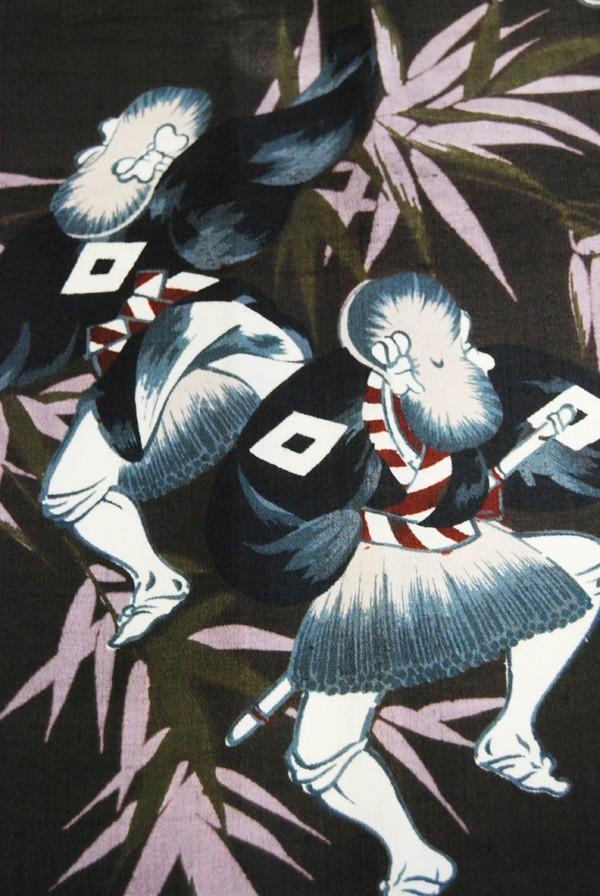 きものさらさ アンティーク 雀踊り 奴踊り ヴィンテージ 男襦袢 正絹 _画像9