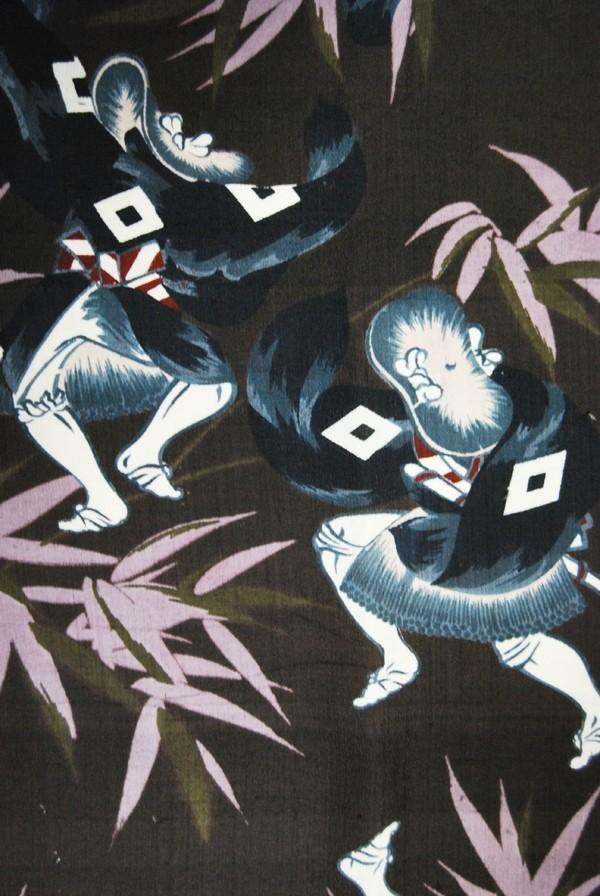 きものさらさ アンティーク 雀踊り 奴踊り ヴィンテージ 男襦袢 正絹 _画像1