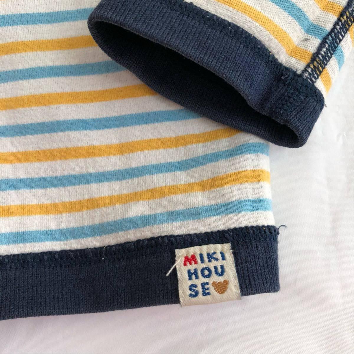 9f59c3c4daa2e ミキハウスMIKIHOUSE 厚手リバーシブルカーディガン男の子90 紺ネイビー黄色ボーダーベビーキッズプッチートレーナートップス. 商品數量  :1