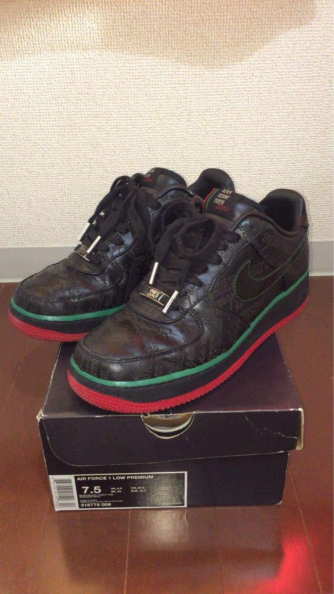 NIKE AIR FORCE 1 LOW PREMIUM BLACK HISTORY Nike air force 1 sneakers 318,775 008 men's shoes black