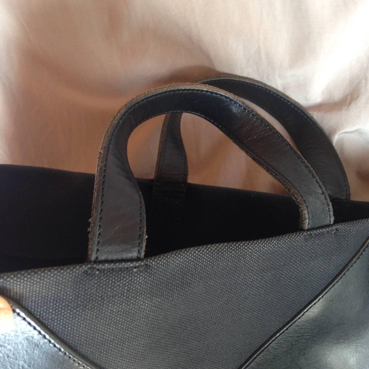 江面旨美トートバッグ 一点物 帆布に牛革 ギャルソン・arts&science・45R・ヨーガンレール好きな方_画像8