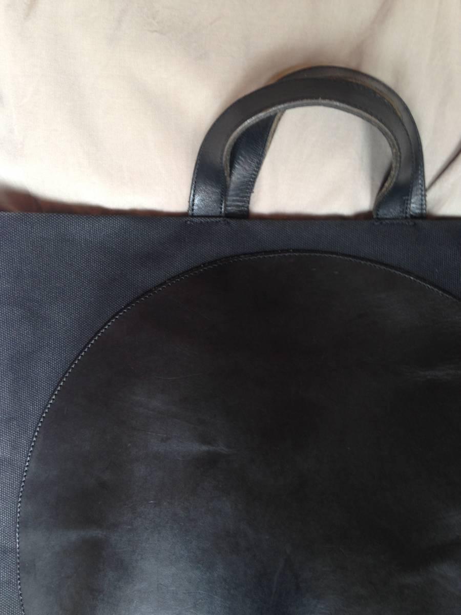 江面旨美トートバッグ 一点物 帆布に牛革 ギャルソン・arts&science・45R・ヨーガンレール好きな方_画像3