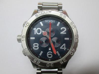 ニクソン 51-30 クロノ 銀・紺 メンズ 腕時計 動品 良品_画像1