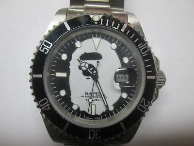APE BAPEX サルマリーナ 黒文字盤 自動巻き 腕時計 動品 良品