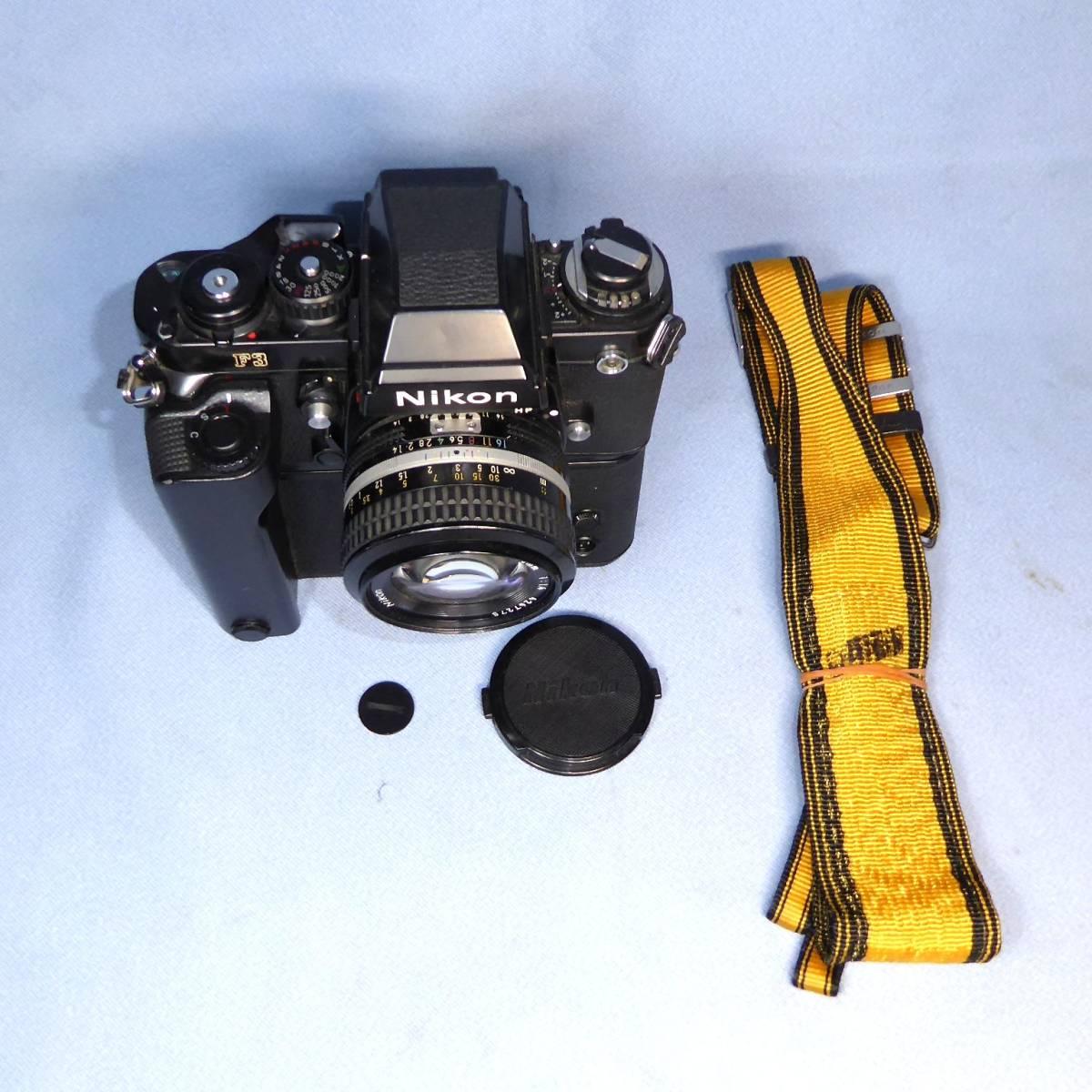 ★  綺麗  諸動作快調  ★   NIKON    F 3  HP   +   MD - 4   +   NIKKOR   50mm/F1.4   +  NIKON ストラップ _画像2