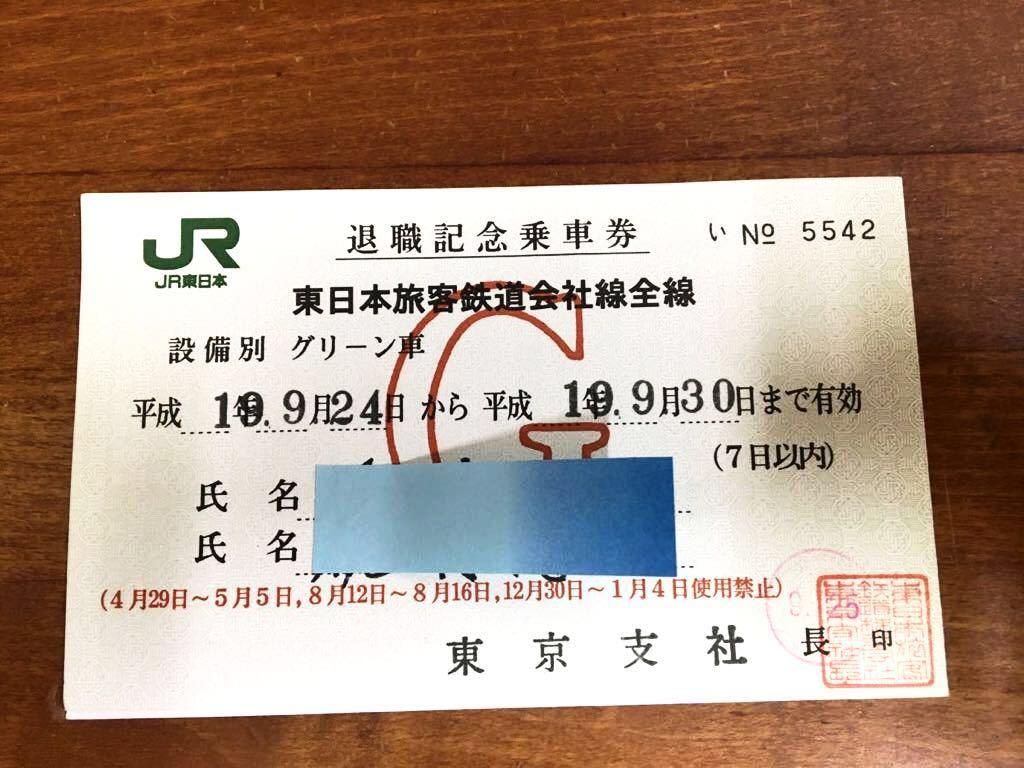 退職記念乗車券 JR切符