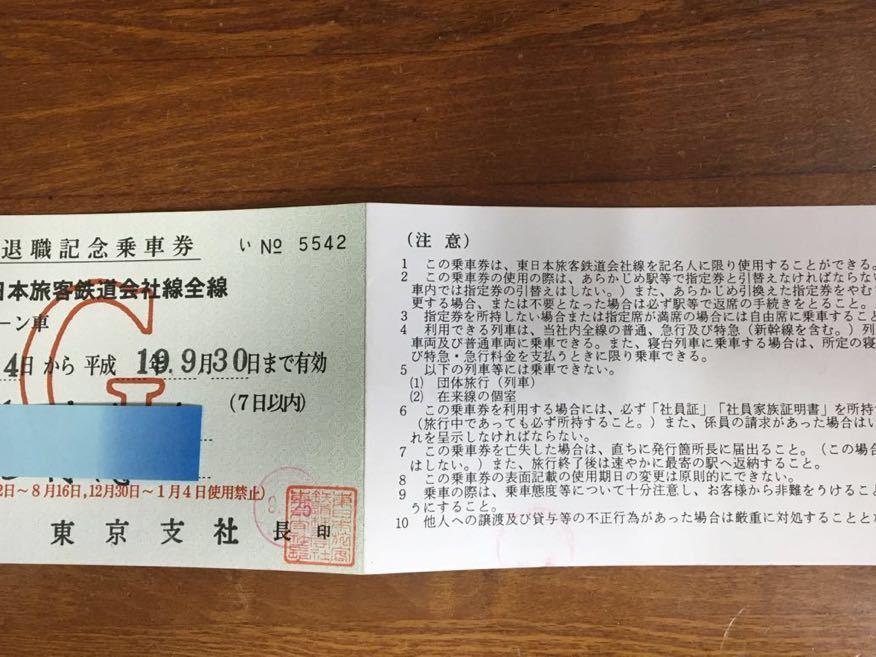 退職記念乗車券 JR切符_画像2