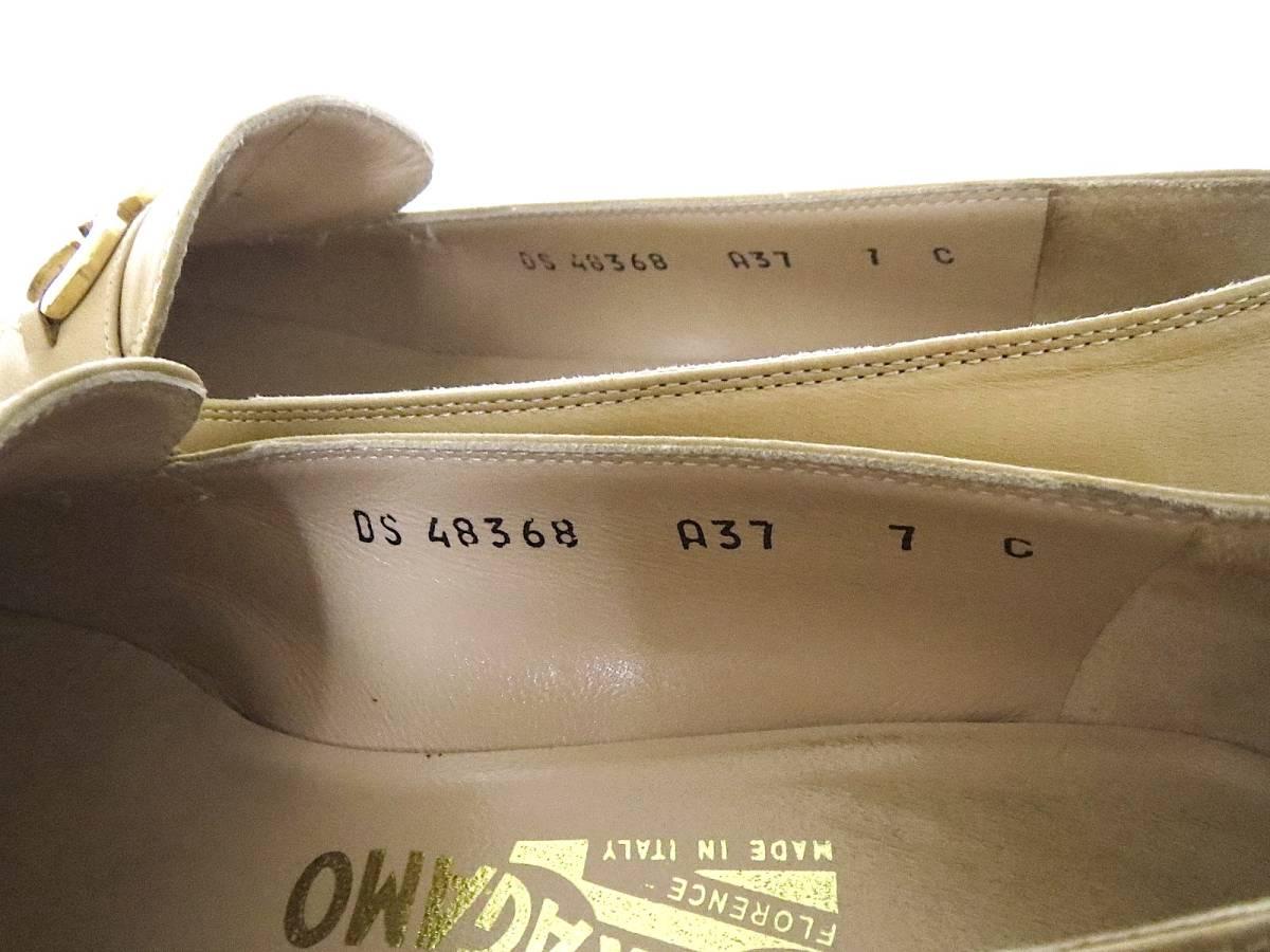 S82 イタリア製♪ Salvatore Ferragamo サルバトーレフェラガモ♪ ベージュのパンプス♪♪ 7C 23.5~24CM 靴 レディース BI_画像9