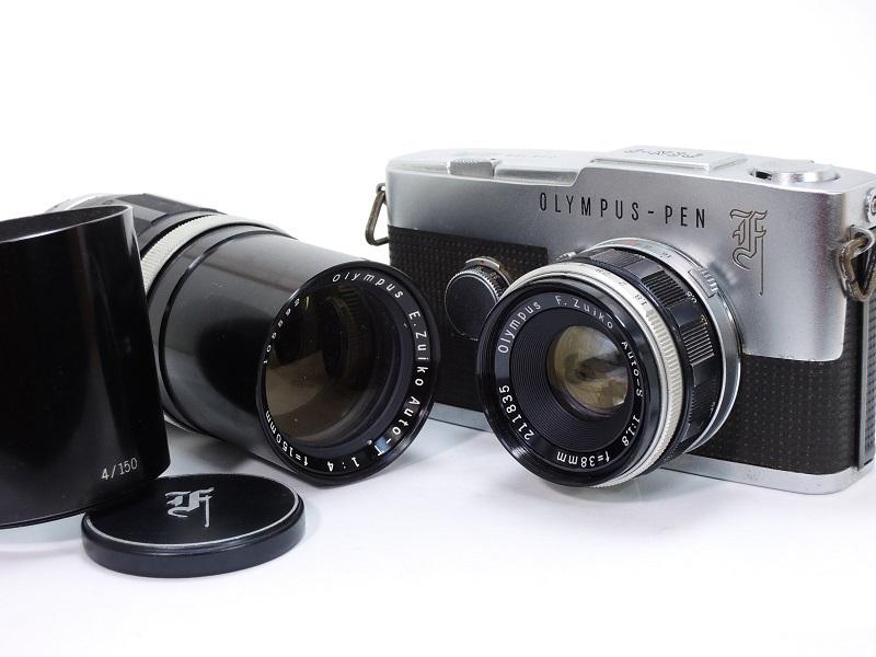 OLYMPUS PEN F オリンパスペン F.Zuiko Auto-S 38mm/f1.8 & E.Zuiko Auto-T 150mm/f4 純正キャップ付θ