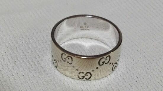 ジュエリー 新品仕上げ済 GUCCI グッチ アイコンリング ワイド GGリング 指輪 20号 #20 K18WG 750WG ホワイトゴールド 中古 _画像2