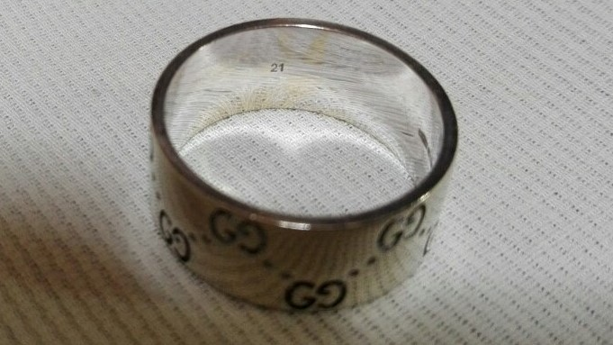 ジュエリー 新品仕上げ済 GUCCI グッチ アイコンリング ワイド GGリング 指輪 20号 #20 K18WG 750WG ホワイトゴールド 中古 _画像3