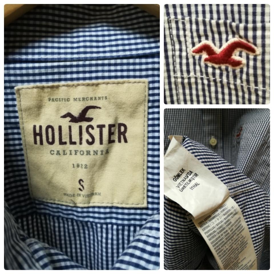 HOLLISTER ホリスター 紺色長袖チェックシャツSサイズ