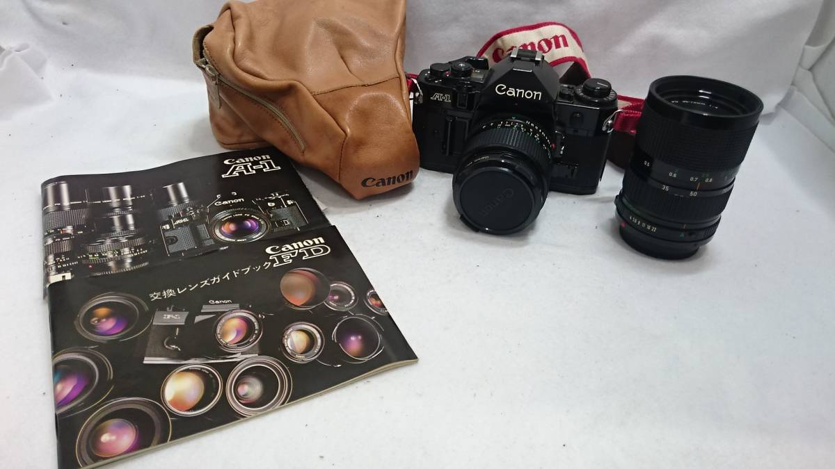 ■カメラ CANON A-1 キャノン 一眼レフ 本体 レンズセット FD 24mm 1:2 FD 35-70mm 1:4 説明書付