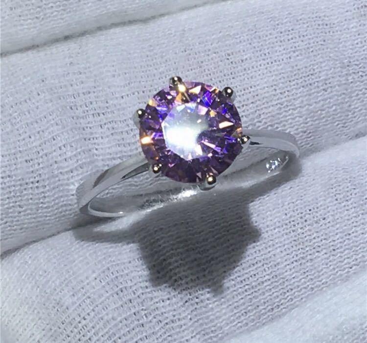 ◆新品◆輝く大粒♪5A高級感CZダイヤモンド スターリングシルバー925 婚約リング結婚指輪パーティーギフト上品豪華 サイズ9号ピンク_画像1