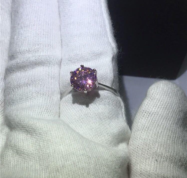 ◆新品◆輝く大粒♪5A高級感CZダイヤモンド スターリングシルバー925 婚約リング結婚指輪パーティーギフト上品豪華 サイズ9号ピンク_画像6