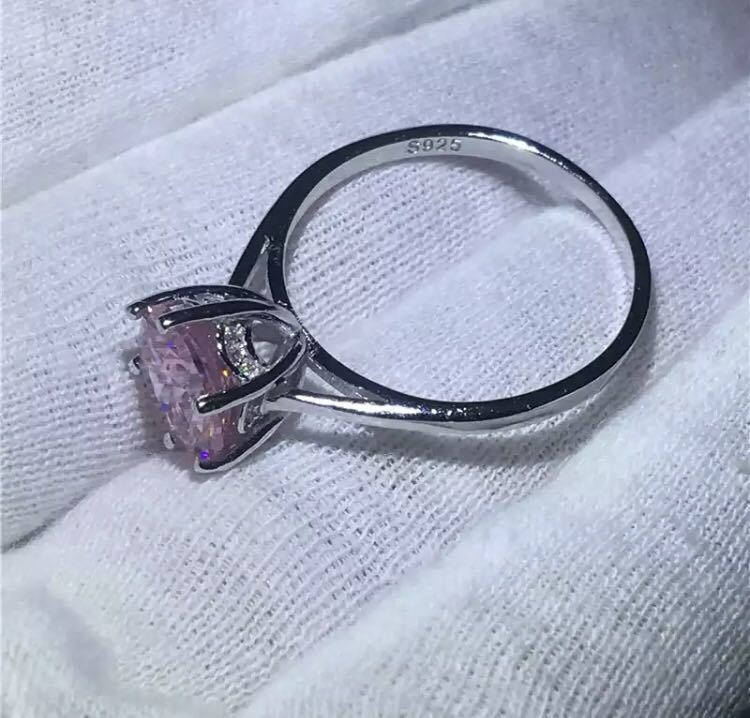 ◆新品◆輝く大粒♪5A高級感CZダイヤモンド スターリングシルバー925 婚約リング結婚指輪パーティーギフト上品豪華 サイズ9号ピンク_画像4