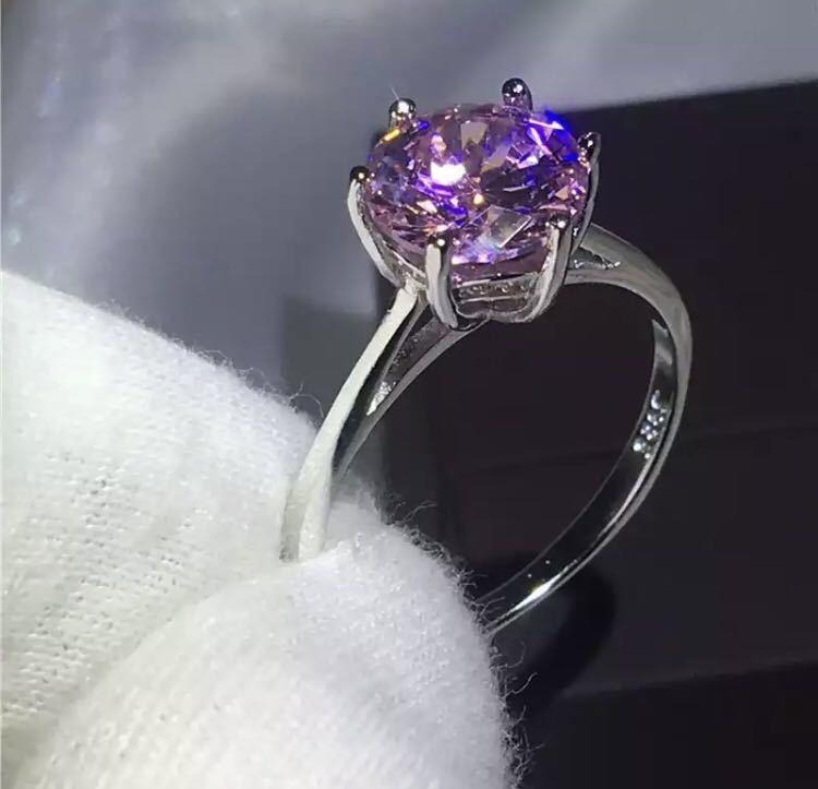 ◆新品◆輝く大粒♪5A高級感CZダイヤモンド スターリングシルバー925 婚約リング結婚指輪パーティーギフト上品豪華 サイズ9号ピンク_画像3