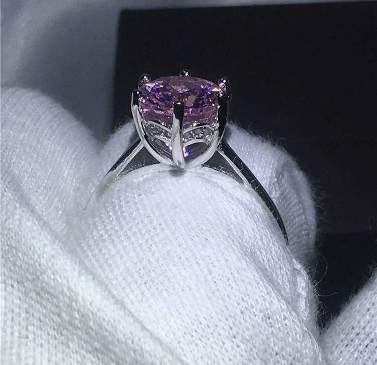 ◆新品◆輝く大粒♪5A高級感CZダイヤモンド スターリングシルバー925 婚約リング結婚指輪パーティーギフト上品豪華 サイズ9号ピンク_画像5