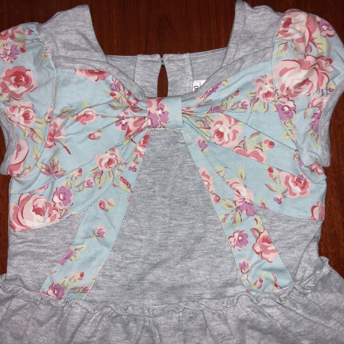 ジルスチュアート JILLSTUART 半袖Tシャツ チュニック ワンピース 90㎝ グレー×水色花柄 中古_画像2