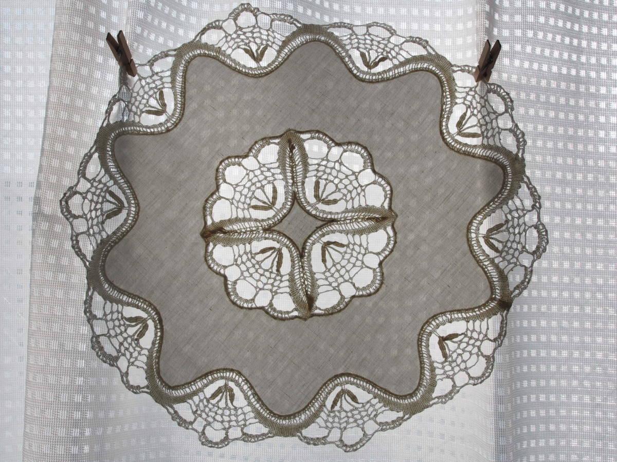 フランス 繊細なボビンレース ホワイトワーク 円形ドイリー/センター ブロカント 蚤の市 アンティークショップ_画像5