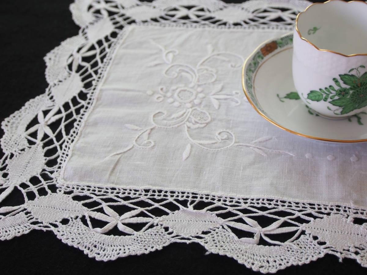 フランス 白糸手刺繍 素敵なボビンレース スクエアードイリー/センター ブロカント 蚤の市 アンティークショップ_画像4