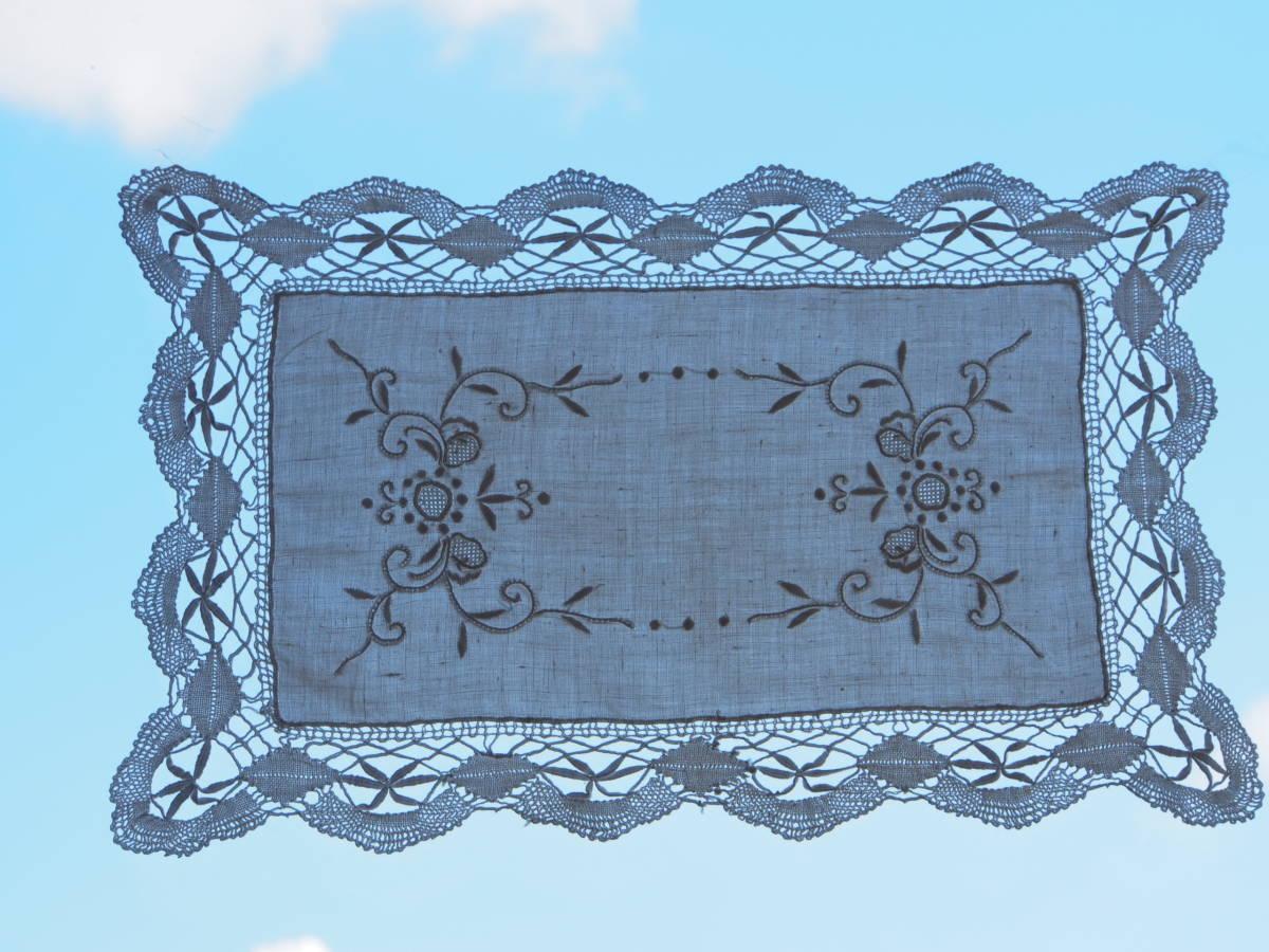 フランス 白糸手刺繍 素敵なボビンレース スクエアードイリー/センター ブロカント 蚤の市 アンティークショップ_画像3