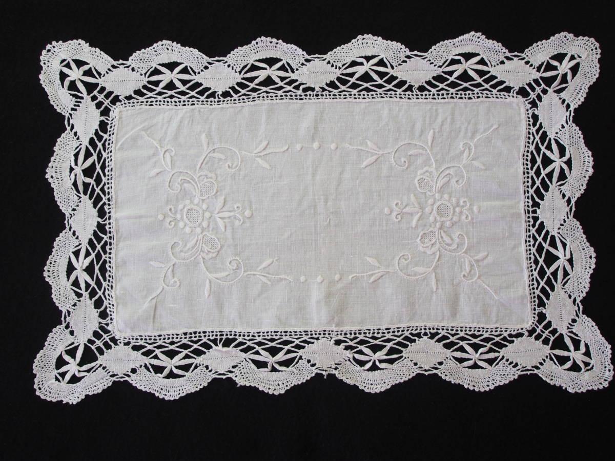 フランス 白糸手刺繍 素敵なボビンレース スクエアードイリー/センター ブロカント 蚤の市 アンティークショップ_画像2
