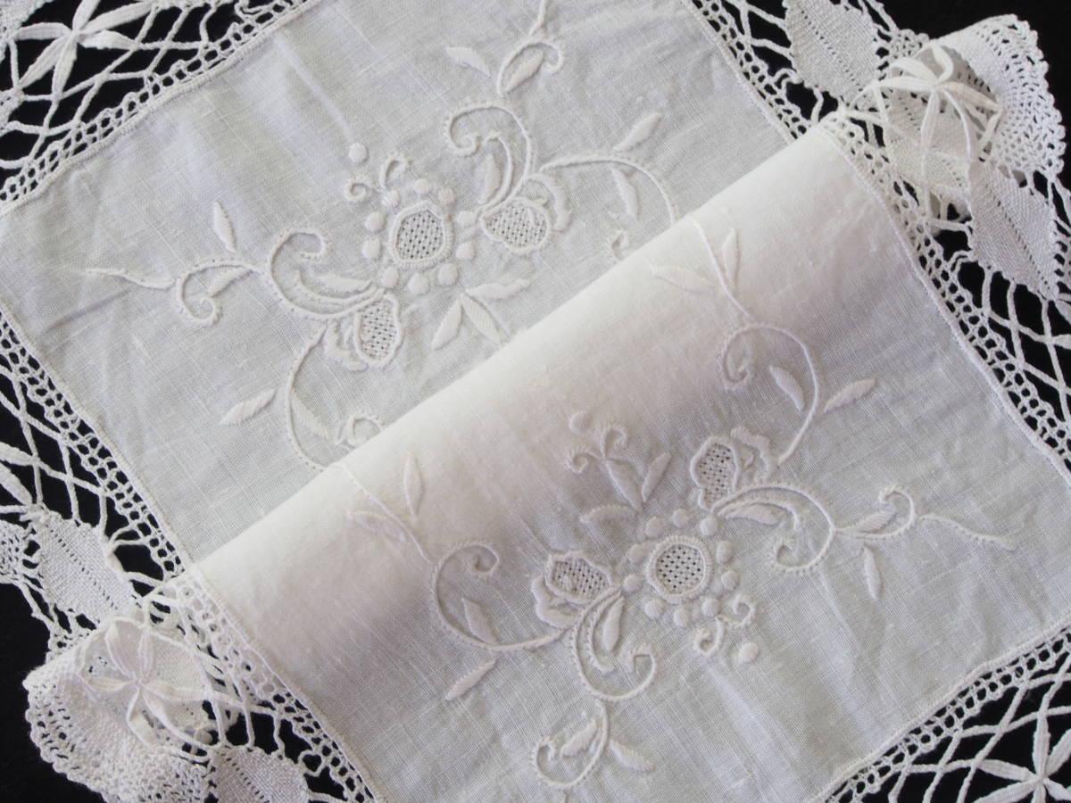 フランス 白糸手刺繍 素敵なボビンレース スクエアードイリー/センター ブロカント 蚤の市 アンティークショップ_画像6