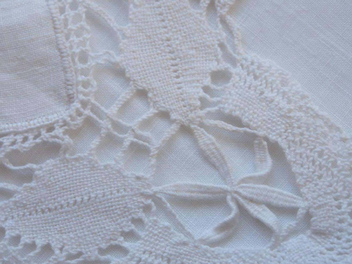 フランス 白糸手刺繍 素敵なボビンレース スクエアードイリー/センター ブロカント 蚤の市 アンティークショップ_画像10