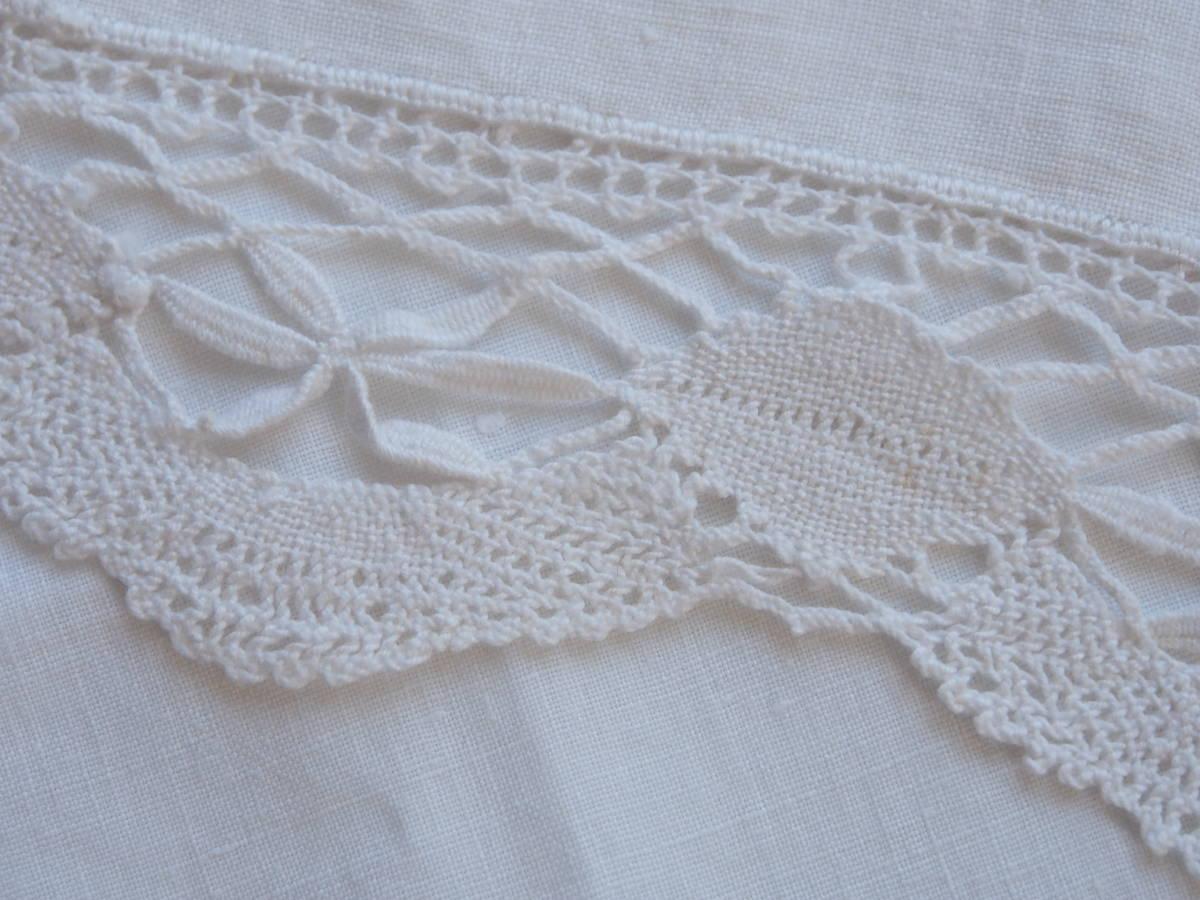 フランス 白糸手刺繍 素敵なボビンレース スクエアードイリー/センター ブロカント 蚤の市 アンティークショップ_画像9