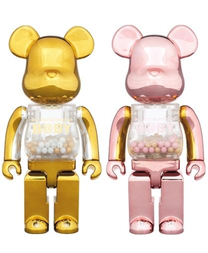 MY FIRST BE@RBRICK B@BY GOLD & SILVER Ver. PINK & GOLD Ver. 400% 2体セット ベアブリック 千秋 bearbrick メディコムトイ kaws bape
