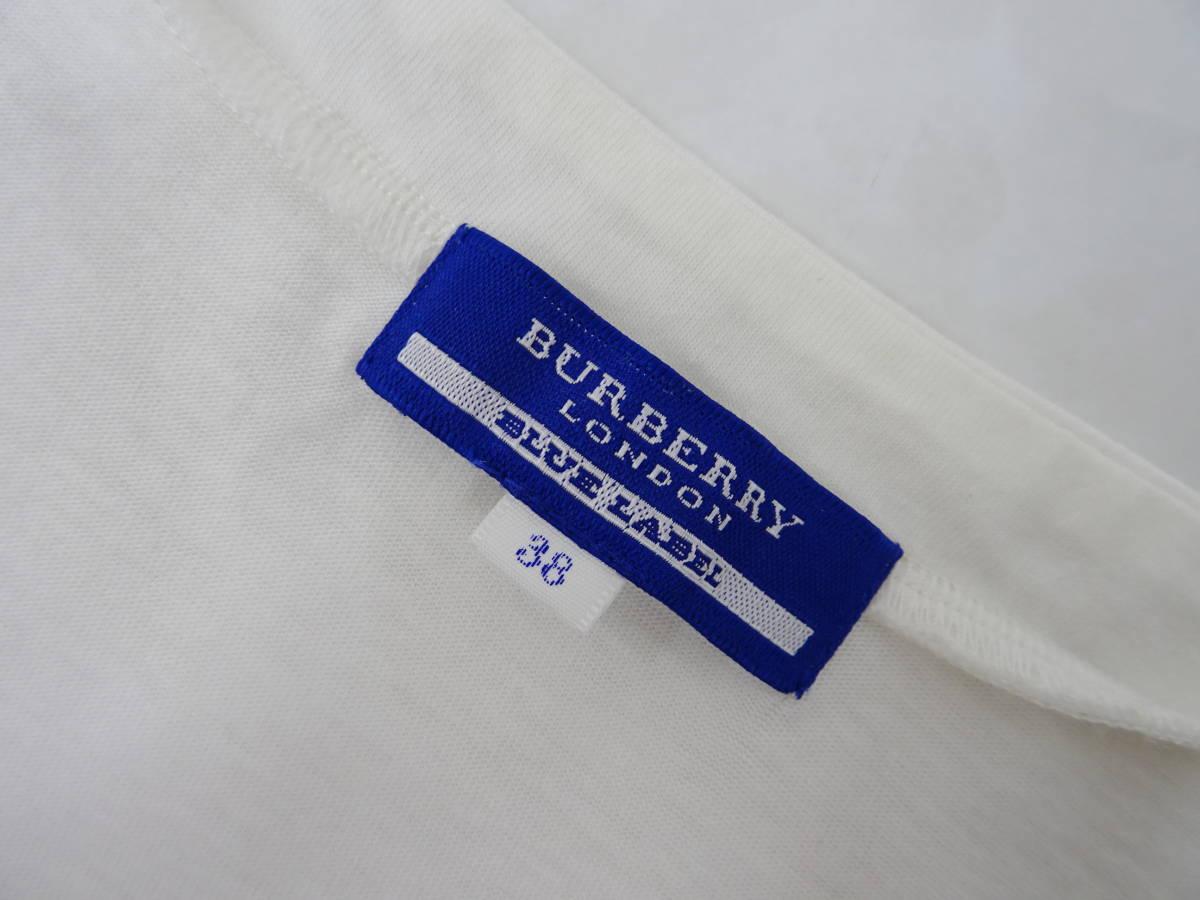 BURBERRY BLUE LABEL カーディガン 2WAY 長袖 ロゴ刺繍 ロゴボタン ノバチェック柄 バーバリーブルーレーベル 白 38 レディース D938 _画像3
