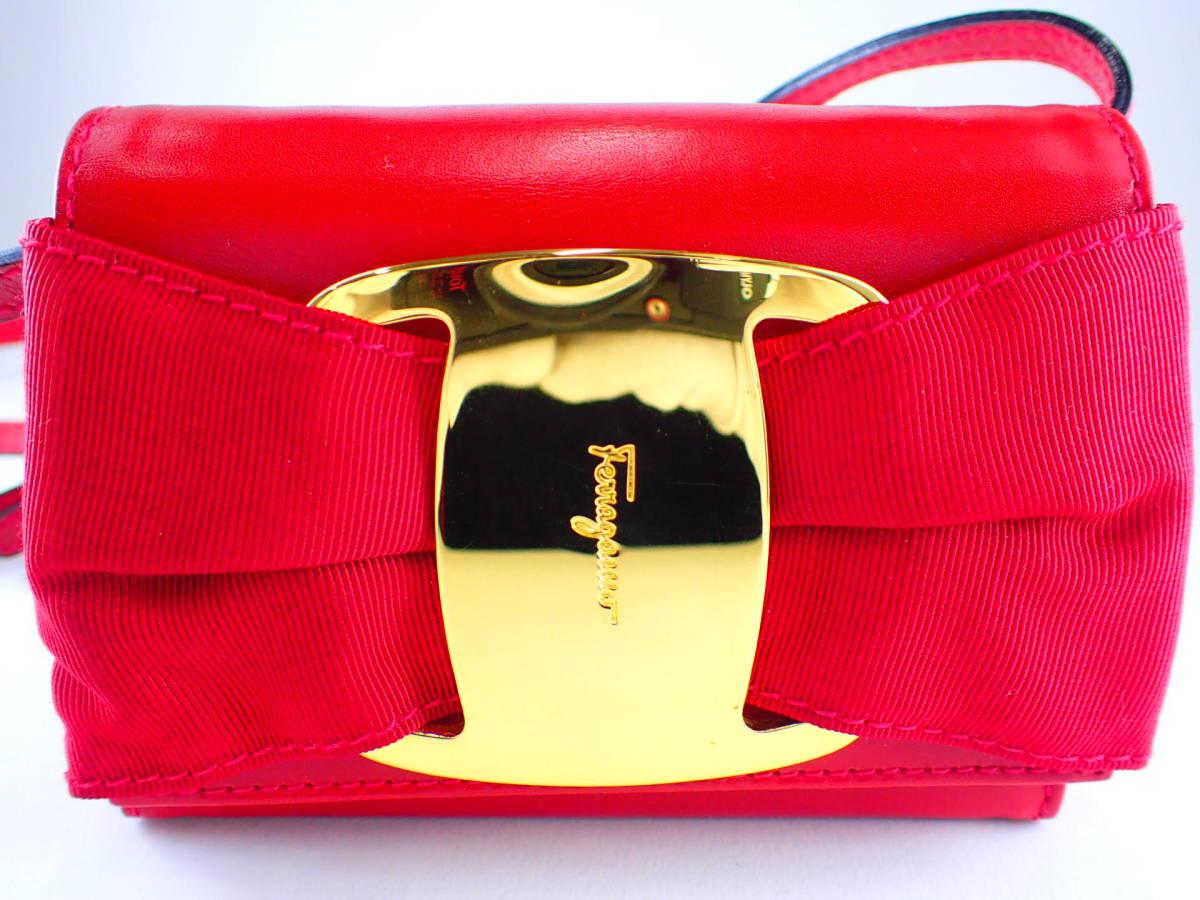6aced0cf6805 Salvatore Ferragamo Salvatore Ferragamovala лента сумка на плечо кожа  красный AQ216164 Vintage небольшая сумочка