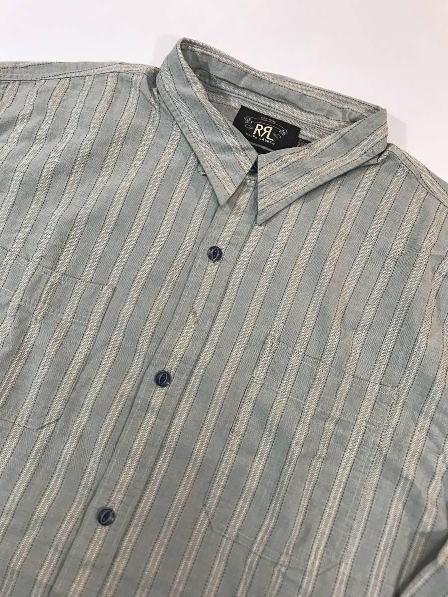 新品 13682 RRL ダブルアールエル XLサイズ 長袖 シャツ polo ralph lauren ラルフ ローレン ポロ ビンテージ ワーク ストライプ_画像2