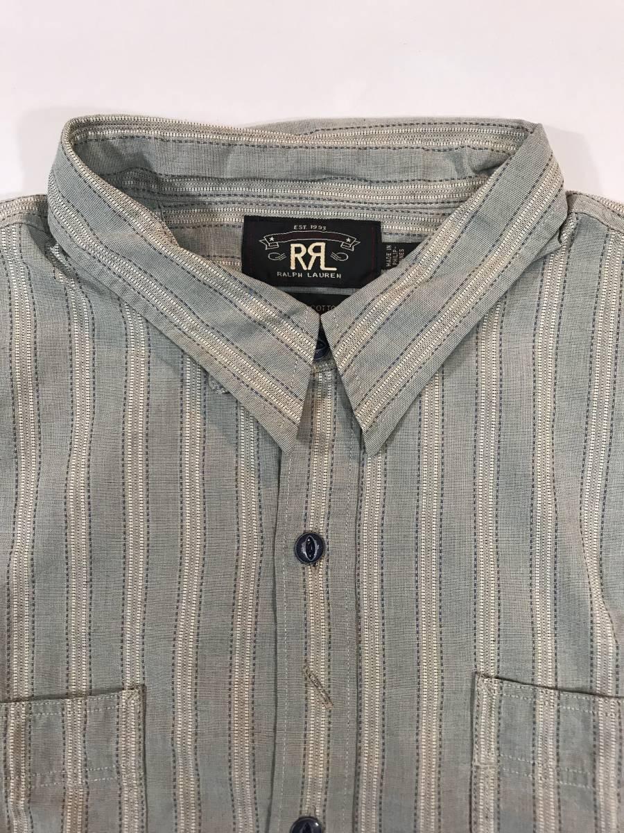 新品 13682 RRL ダブルアールエル XLサイズ 長袖 シャツ polo ralph lauren ラルフ ローレン ポロ ビンテージ ワーク ストライプ_画像5