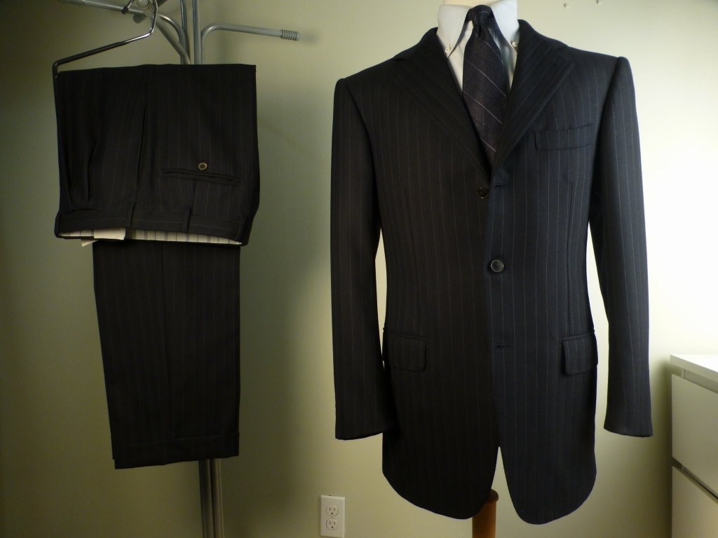 ◆ERMENEGILDO ZEGNA スーツ COUTURE 美品 50R 50C 本切羽 ナポリクチュール グレーストライプ エルメネジルドゼニア_画像1