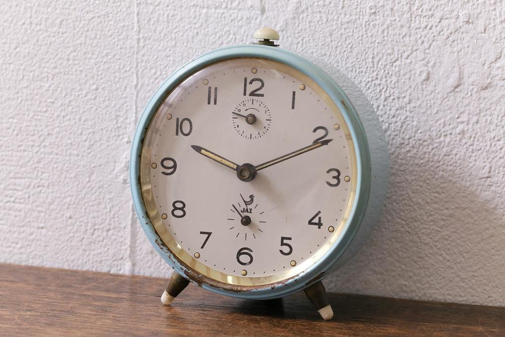 R-041548 ジャンク品 アンティーク雑貨 フランスヴィンテージ JAZ社 レトロな風合いが魅力の目覚まし時計(置時計、枕時計)(R-041548)_画像1