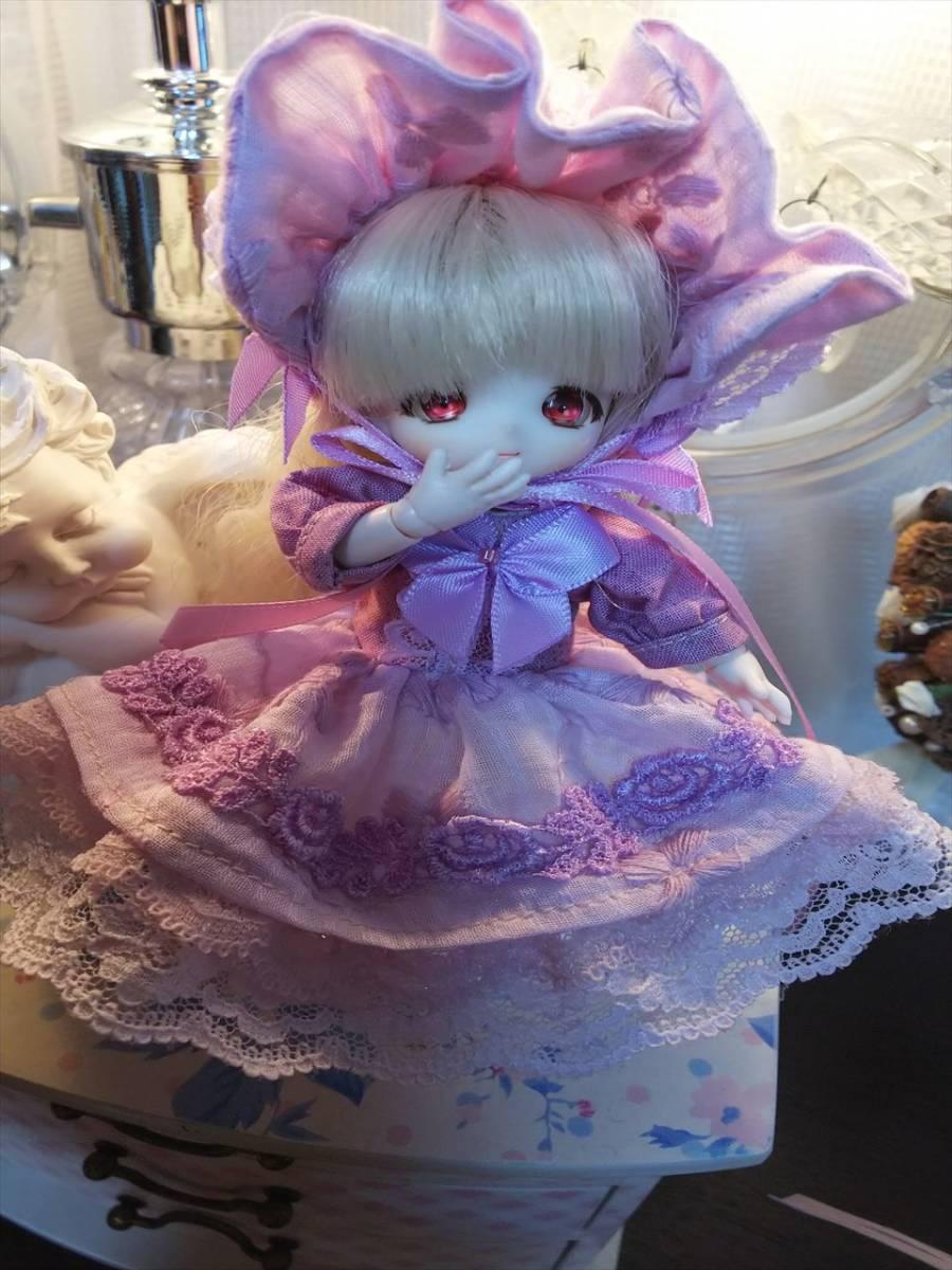 【BettyRose】オビツ11☆あまむす☆ミニスィーツドール☆手染めラベンダードレス☆ヘッドドレスの2点セット