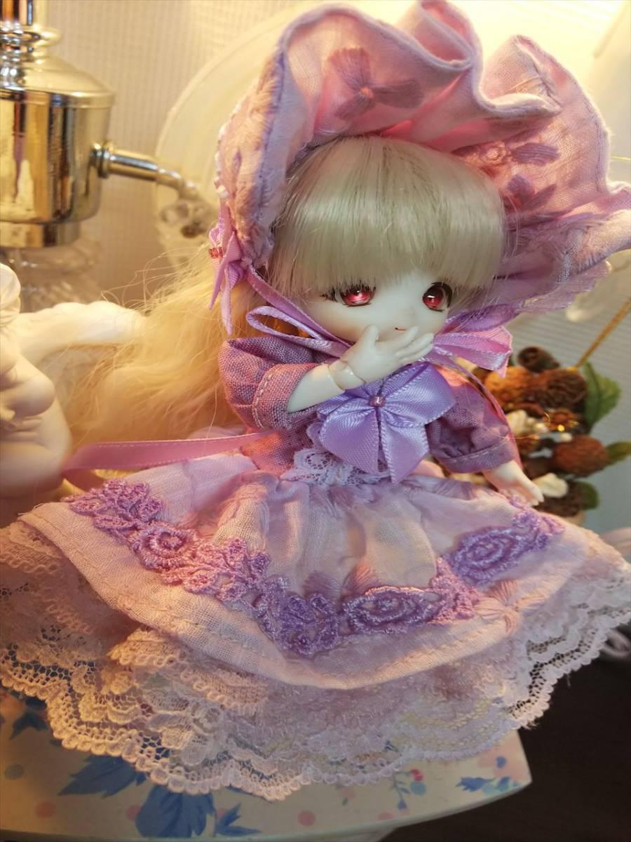【BettyRose】オビツ11☆あまむす☆ミニスィーツドール☆手染めラベンダードレス☆ヘッドドレスの2点セット_画像2