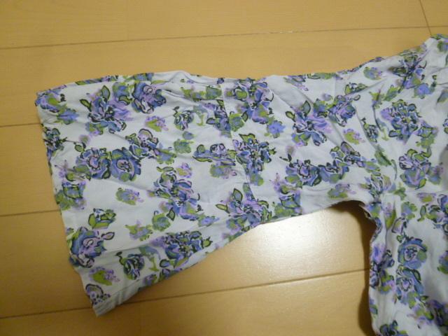 フェリシモ♪白×パープル系小花柄胸元カシュクールコットンロングワンピースL/マキシ丈リゾートにホワイト紫♪H77_画像5