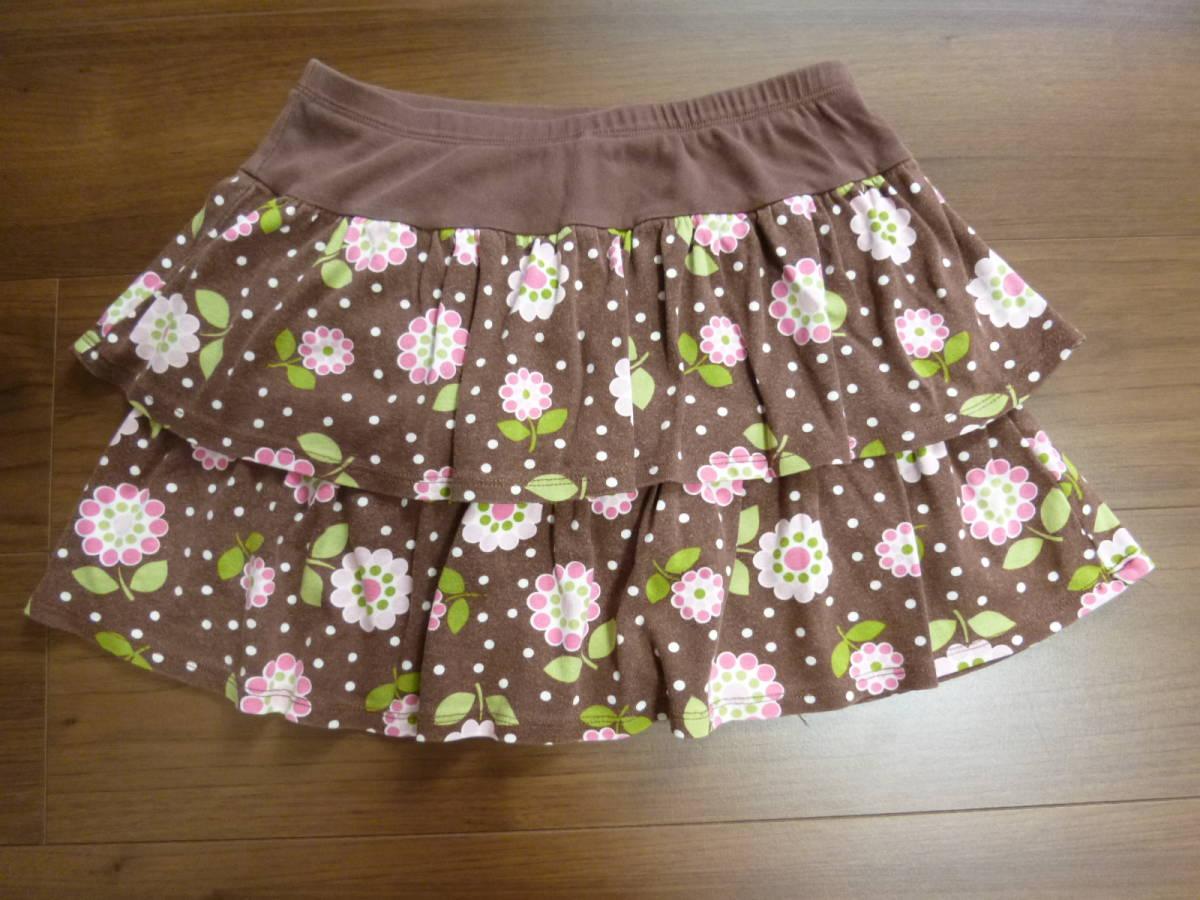 Gymboreeジンボリー★10T 10歳 茶色 花柄スカート130140 _画像2