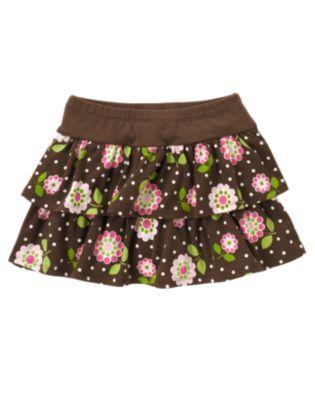 Gymboreeジンボリー★10T 10歳 茶色 花柄スカート130140