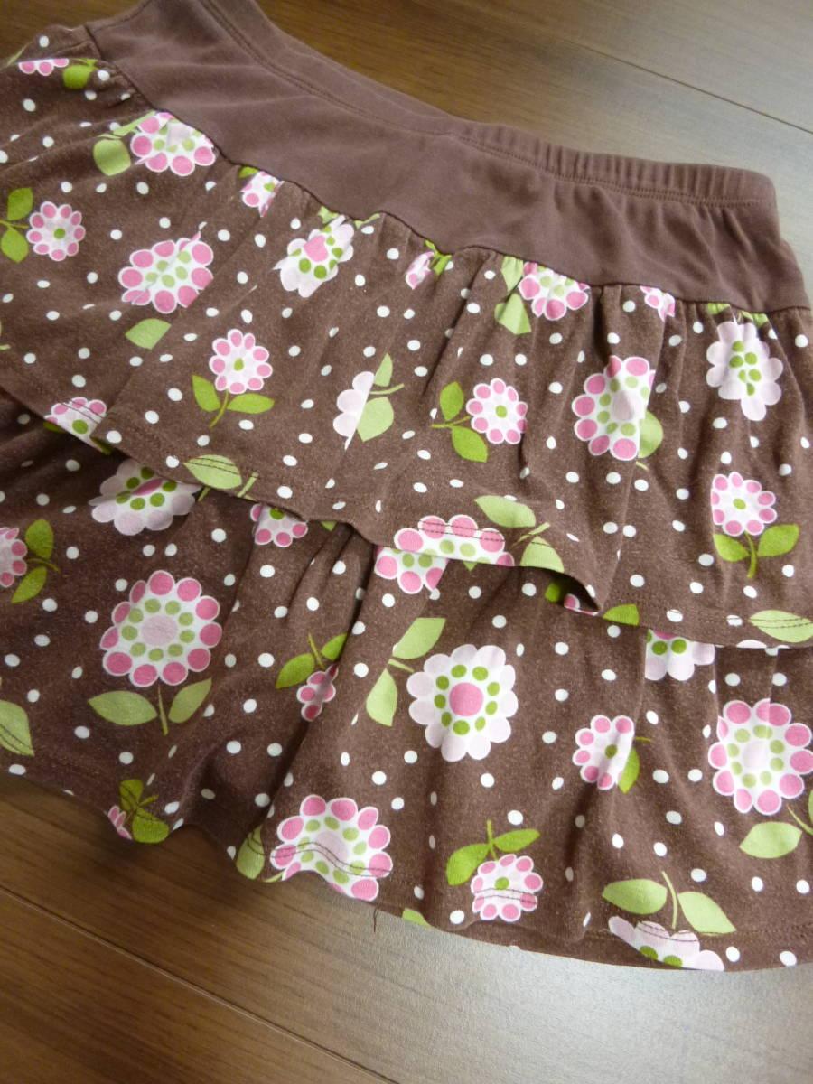 Gymboreeジンボリー★10T 10歳 茶色 花柄スカート130140 _画像4