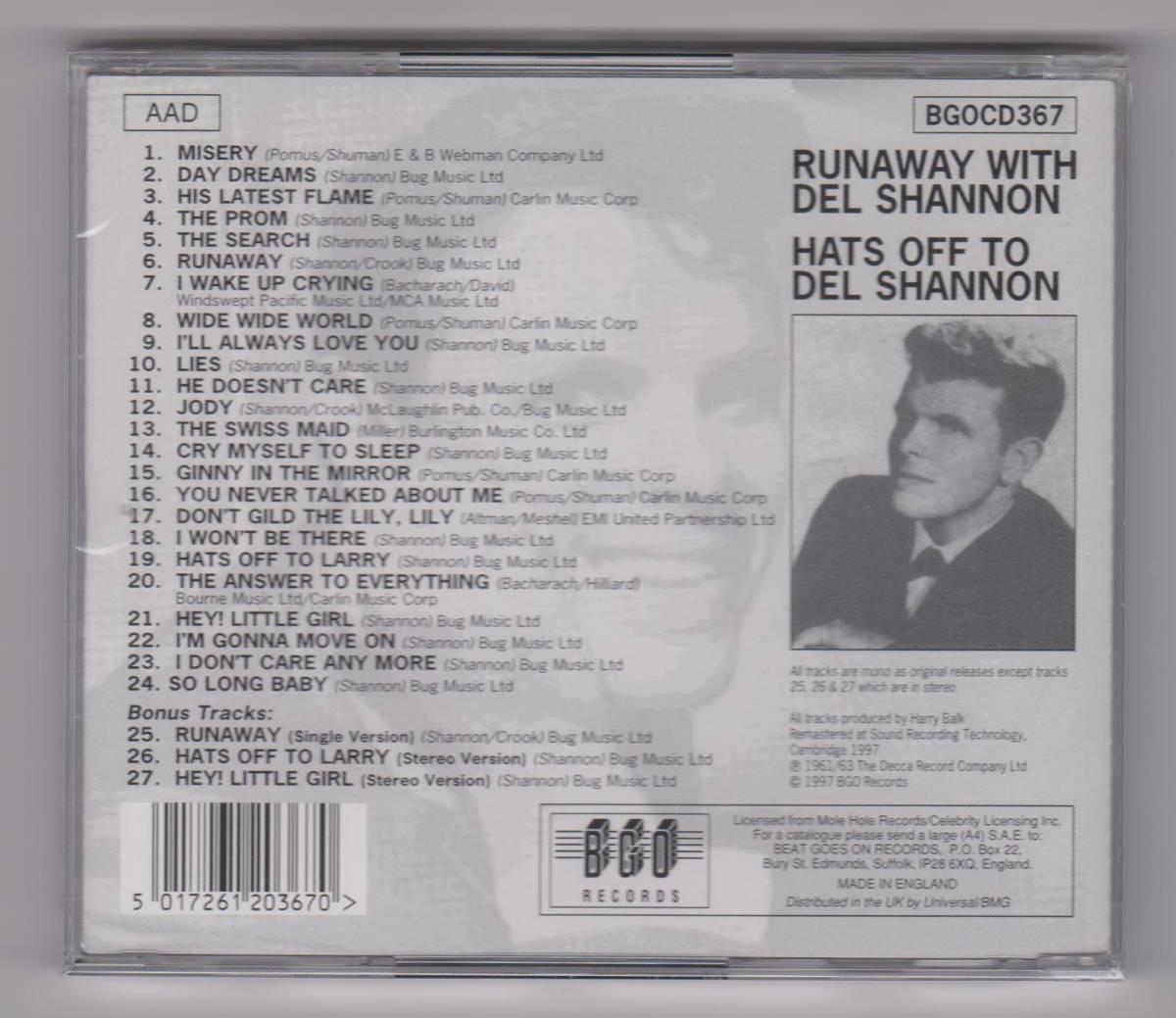 【新品/輸入盤CD】DEL SHANNON/Runaway With DEL SHANNON & Hats Off To DEL SHANNON_画像2