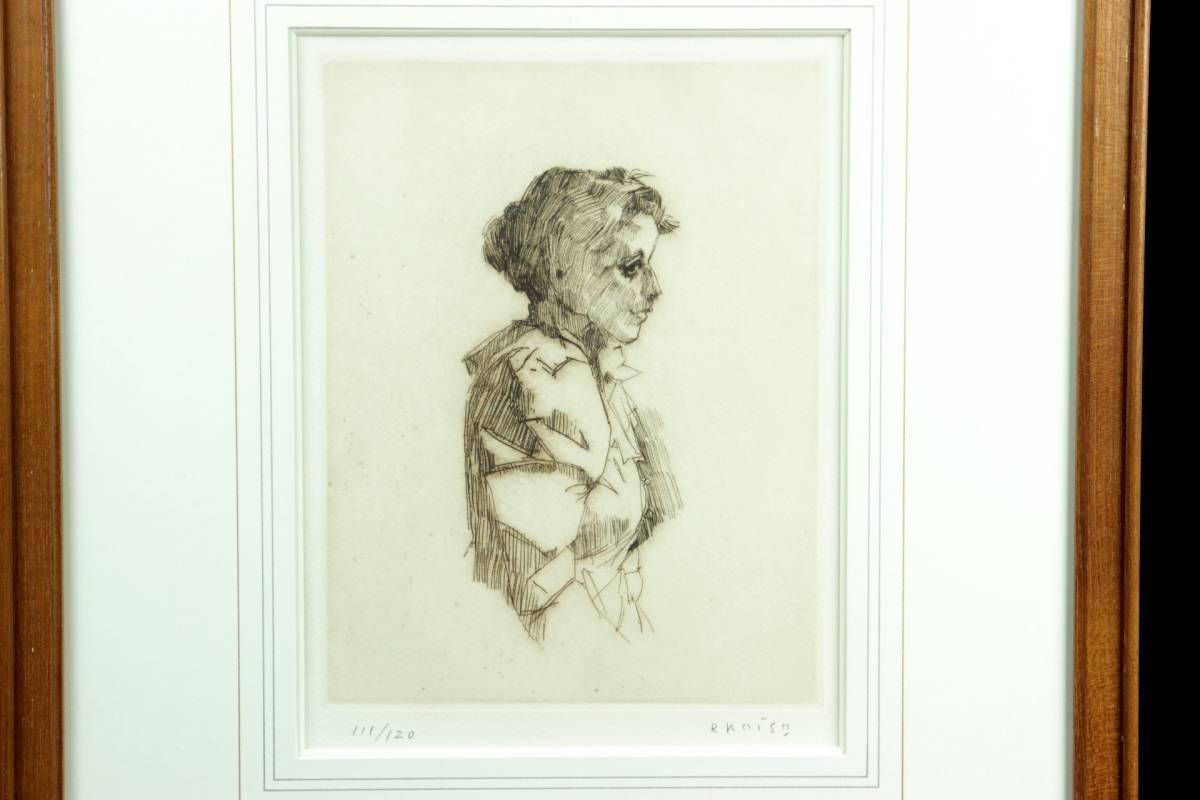 ◆櫟◆ 真作保証 小磯良平 「婦人」 銅版画 111/120 直筆サイン T[E23]PV/10KB_画像3