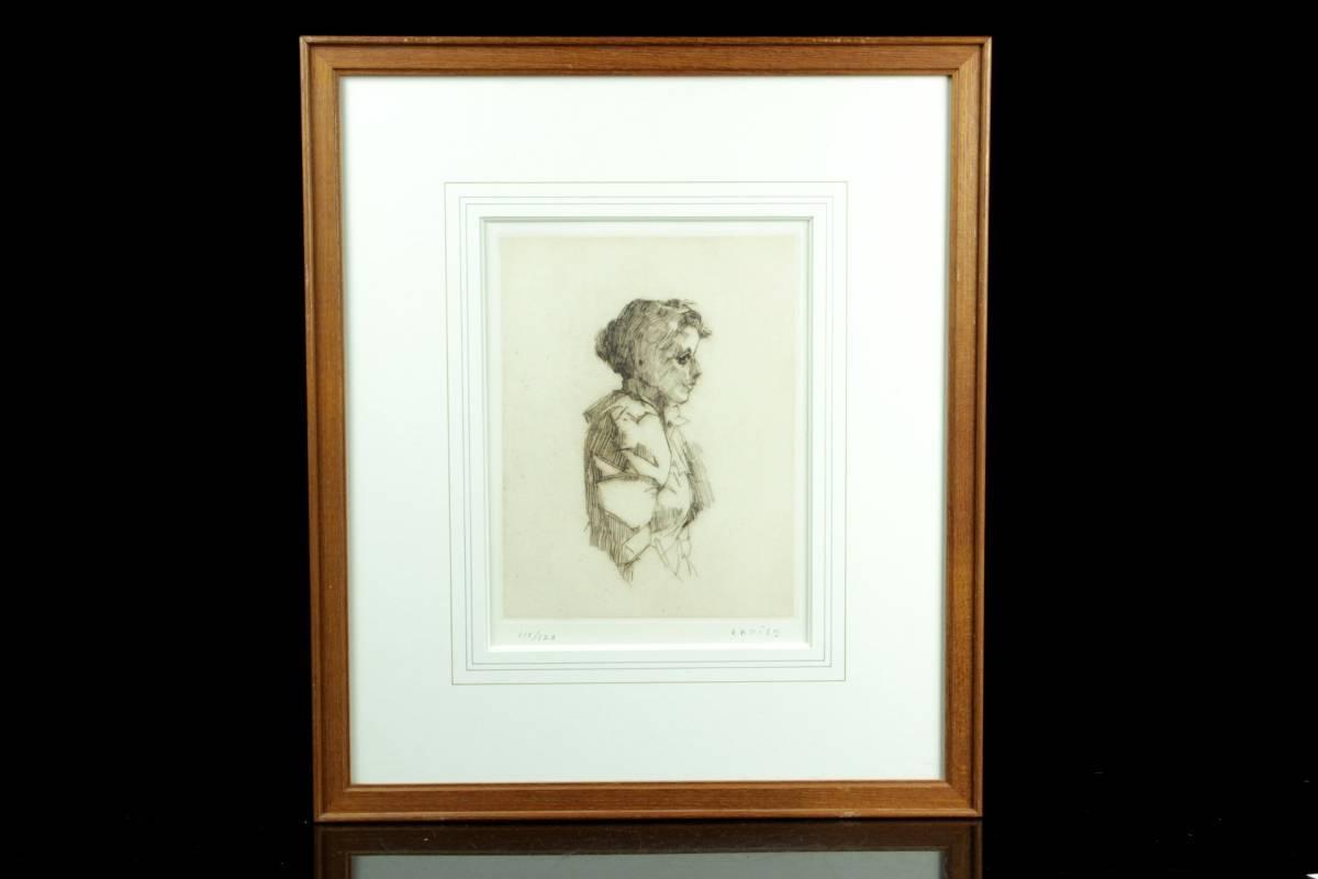 ◆櫟◆ 真作保証 小磯良平 「婦人」 銅版画 111/120 直筆サイン T[E23]PV/10KB_画像2