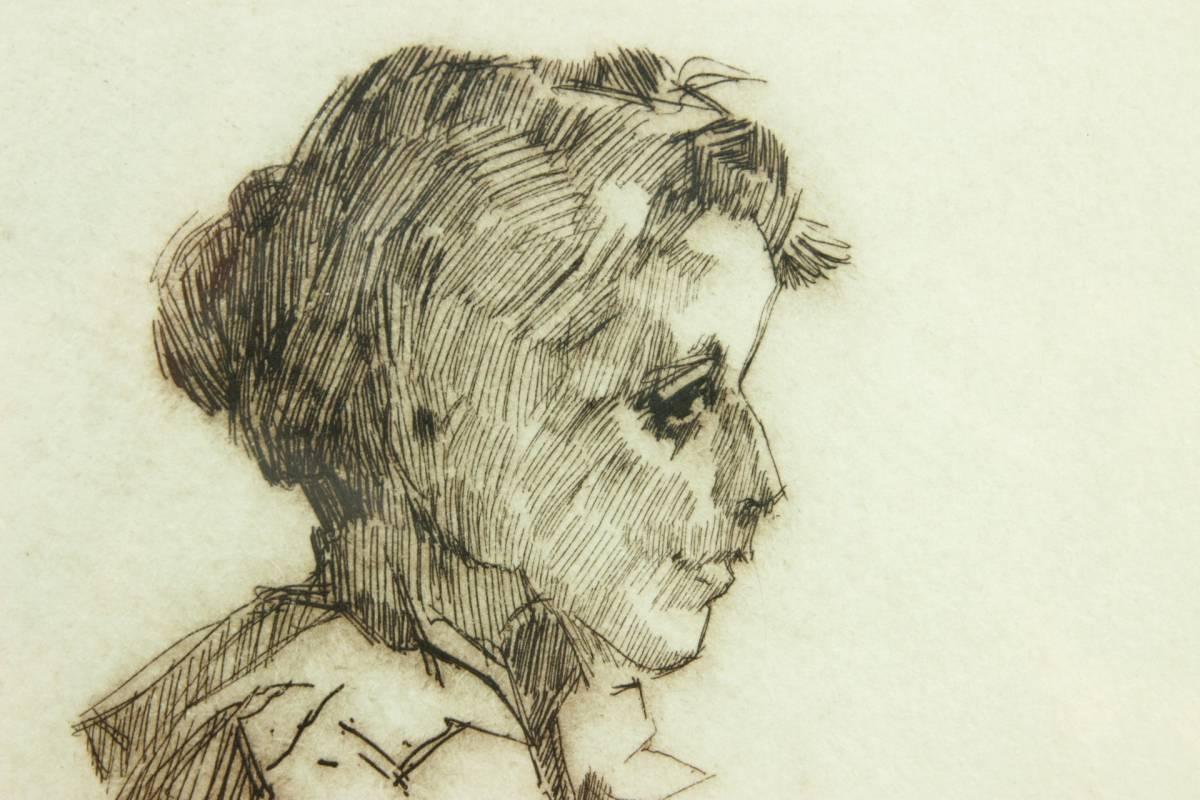 ◆櫟◆ 真作保証 小磯良平 「婦人」 銅版画 111/120 直筆サイン T[E23]PV/10KB_画像4
