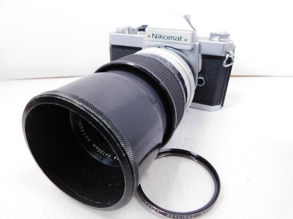 NIKON ニコン/一眼レフカメラ/ボディ Nikomat FT2/単焦点レンズ NIKKOR-Q Auto 135mm F2.8/取説付属!!/MF ニコマート/管A1003