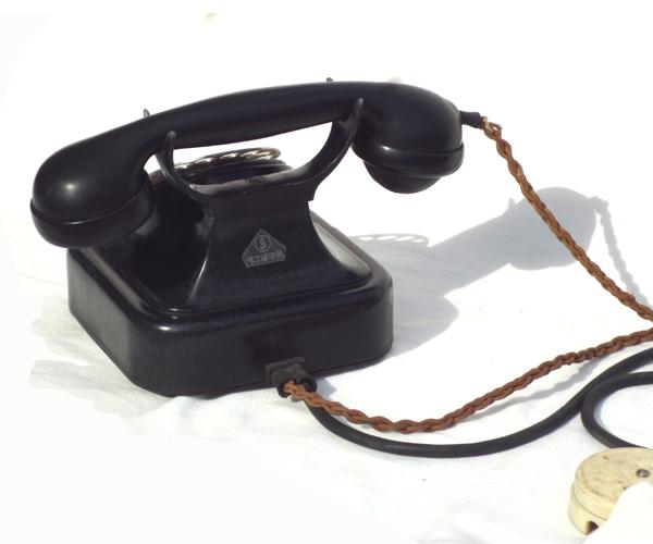 ● 通信道具 黒電話 < 電話機 > ダイヤル式電話  ジャンク ●_画像3